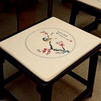 红木沙发坐垫中式古典实木家具圈椅太师椅官帽椅子定做防滑餐椅垫 卡其色 春色上寒枝