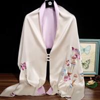苏绣盘扣大披肩 重工刺绣荷花旗袍外搭苏州丝绸丝巾 围巾 浅紫色