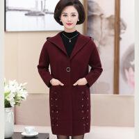 中年 秋天的外套中年女秋装外套40-50岁大码中长款气质连帽妈妈秋季针织羊绒大衣 酒