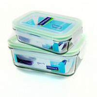 GLASS LOCK 三光云彩 韩国进口玻璃乐扣微波保鲜盒饭盒便当盒四面锁扣-RP519+RP521