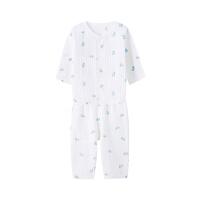 全棉时代 婴儿针织抽针罗纹长袖套装1套装小熊大象