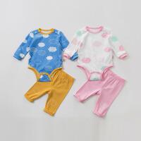 [2件3折价:69]戴维贝拉春季男女婴幼儿宝宝连体衣内衣两件套套装DBH10009