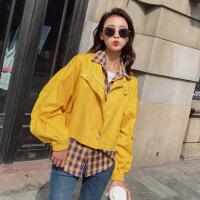 新女士外套2018秋新款假两件短款夹克时尚个性百搭女装上衣风衣外套N7B 黄色