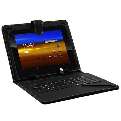 沐阳 8寸 平板电脑通用保护套 键盘+皮套二合一 USB接口 黑色 防摔,防溅水,防尘带键盘方便打字玩游戏