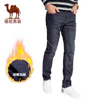 骆驼男装 2017年冬季新款加绒加厚水洗猫须直筒男青年牛仔裤长裤