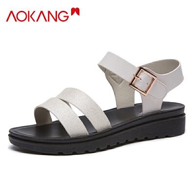 奥康女鞋夏季凉鞋女软底凉鞋厚底中跟妈妈鞋透气罗马凉鞋