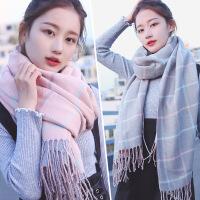新品双面围巾女冬季韩版百搭潮长款加厚保暖格子几何流苏披肩两用冬天