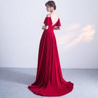 红色结婚晚礼服新娘敬酒服2018新款一字肩长款修身拖尾显瘦2017