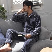 睡衣男士秋冬季珊瑚绒加绒加厚保暖法兰绒男款宽松冬天家居服套装 宝
