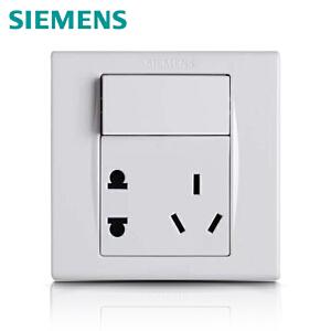 西门子开关插座品宜雅白 一开五孔插座电源面板