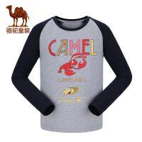 camel小骆驼童装2017秋冬季男童长袖圆领套头休闲T恤儿童印花运动卫衣
