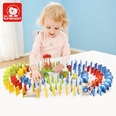 特宝儿 150粒益智玩具桶装收纳动物多米诺骨牌玩具字母数字多米诺玩具6995