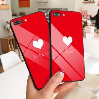 红底爱心苹果7plus手机壳INS风网红iPhone8保护套XS MAX情侣女6防摔明星同款7玻璃壳潮款8P全新X个性