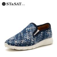【领券减150】星期六男鞋(ST&SAT) 布平跟圆头休闲单鞋SS71129513 花色