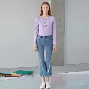 熙世界紫色长袖T恤女2018秋装新款印花修身打底圆领上衣113LT098
