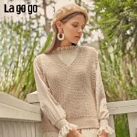 Lagogo/拉谷谷2019秋新款时尚V领无袖背心女针织衫ICMM037G37