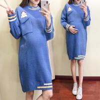 潮妈中长款套头针织衫打底上衣孕妇秋冬装毛衣时尚新款连衣裙