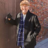 秋冬中老年毛呢大衣男爸爸装老年人羊毛外套中年男装中长款风衣W441 典雅黑