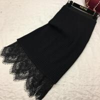 2017冬季加厚时尚两穿半身针织毛线裙蕾丝中长款修身包臀一步裙女 黑色 均码 80-150斤
