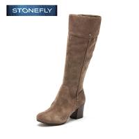 STONEFLY/斯通富来牛皮粗跟高跟圆头休闲百搭温暖舒适长靴女靴SD44111220