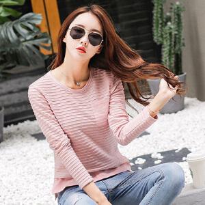 长袖t恤女外穿衣服2017秋季女装上衣体恤显瘦纯色打底衫秋装小衫