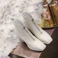 靴子女白色短靴女春秋2019英��前拉��R丁靴高跟鞋女冬季粗跟
