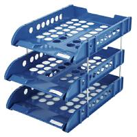 齐心(Comix) B2133 耐用三层文件盘/文件筐/文件框 蓝色 办公文具当当自营(蓝、灰颜色随机)