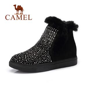 骆驼女靴韩版时尚水钻休闲兔毛磨砂 小内增高棉靴