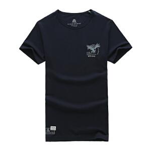 夏装新款战地吉普AFS JEEP纯棉弹力圆领短袖T恤衫79886男体恤polo