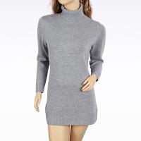 羊绒衫女士毛衣加大加厚款秋冬打底衫女士高领显瘦中长款羊绒衫灰色长袖毛衣