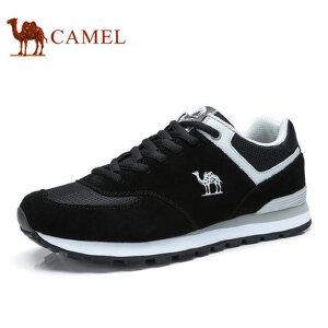 camel骆驼男鞋 新款户外运动 透气牛皮网布旅游鞋跑步男鞋