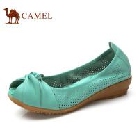 CAMEL 骆驼女鞋 春季新款鱼嘴浅口头层牛皮甜美单鞋