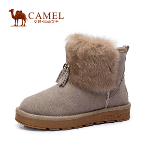 Camel骆驼雪地靴  女鞋 磨砂皮兔毛圆头绒里保暖平跟新款短靴女靴