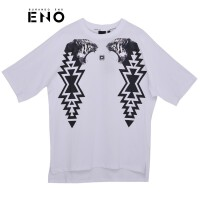 BURANDOENO潮牌新款男式虎头印花短袖T恤E19S41MSS107