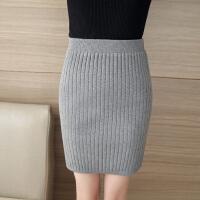秋冬季针织半身毛线包裙韩版后开叉包臀一步裙短裙子冬天女群百搭