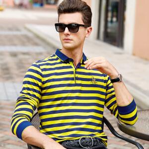 【只亏一天,抢完涨价】春秋商务休闲男装长袖t恤条纹纯棉翻领体恤衫