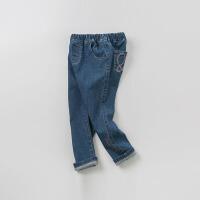 戴维贝拉kids2019秋季新款女童裤子中大童牛仔裤DBK9119