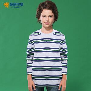 英格里奥男童全棉圆领打底衫中大童儿童套头长袖条纹T恤
