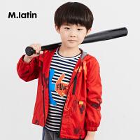 【2件2.5折后到手价:134.8元】马拉丁童装男童风衣趣味印花个性酷感带帽外套