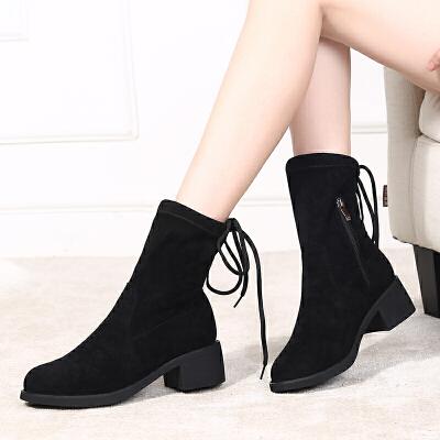 配裙子穿的靴子女冬加绒长筒靴中长款过膝2019秋款高腰高筒靴 黑色短靴 冬季加绒