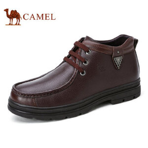 camel骆驼男靴 秋冬新品男士皮鞋 高帮加绒保暖爸爸鞋皮靴