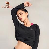 camel骆驼户外运动T恤 女款透气露背健身瑜伽休闲长T恤