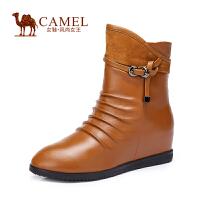 Camel/骆驼女鞋 时尚舒适 牛皮羊�S圆头内增高高跟侧拉链新款女靴