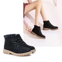 【加绒保暖舒适平底】新品冬款耐磨橡胶底防滑短靴系带抗寒马
