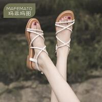 玛菲玛图细带凉鞋女时尚欧美风交叉带真皮露趾手工原创女鞋罗马鞋611-14