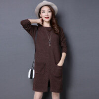 新半身裙女士毛衣 秋冬新款女士韩版圆领加厚前开叉带口袋针织打底衫