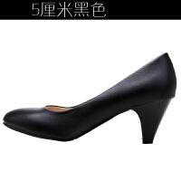 春秋单鞋工作鞋女黑色浅口职业鞋舒适防滑软底尖头高跟鞋大码女鞋 黑色 黑色5厘米
