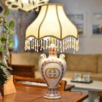 墨菲 欧式双耳台灯卧室床头时尚创意陶瓷婚庆居家书房装饰台灯具