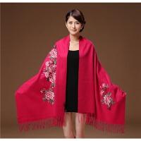 新款秋冬季新款百搭手工刺绣围巾加厚保暖羊绒羊毛披肩女两用长款