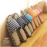 韩国亚麻拖鞋夏季家居拖鞋男女居家室内软底木地板拖鞋